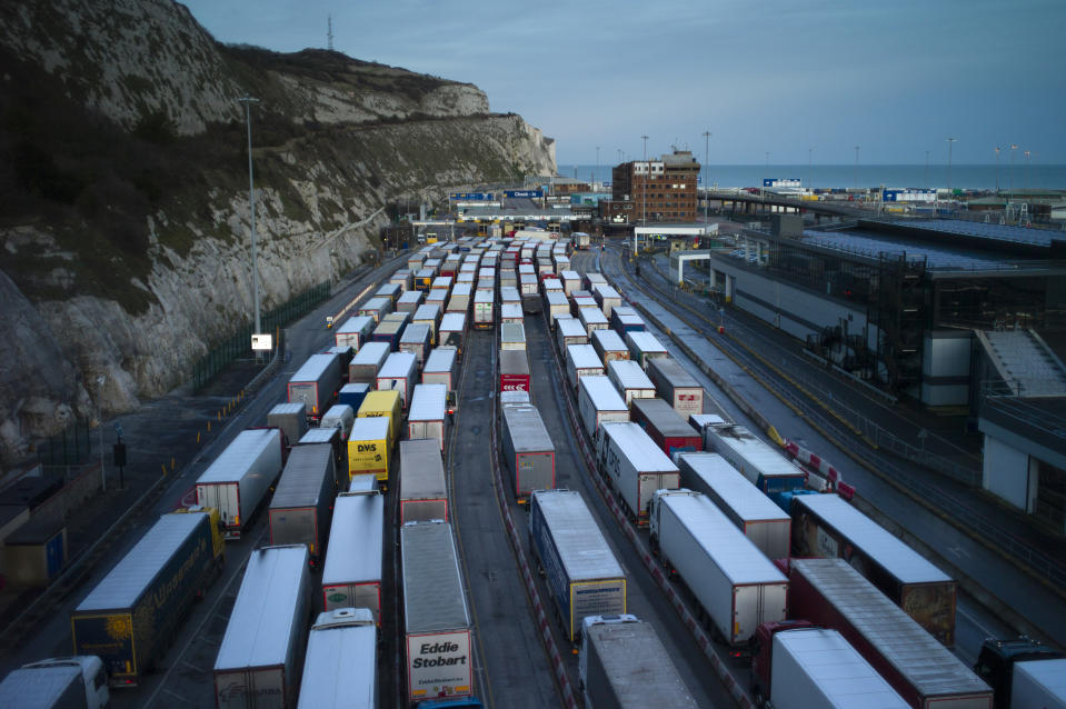 DOVER, ENGLAND - JANUARY 22: Freight queues at Dover port on January 22, 2021 in Dover, England. Since Brexit, new requirements for EU transport firms to provide tens of thousands of pounds worth of VAT and tariff guarantees have left hauliers refusing contracts to carry loads for small and medium sized businesses from the U.K.  (Photo by Dan Kitwood/Getty Images)