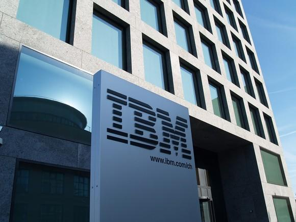 IBM logo on sign outside of an office building.
