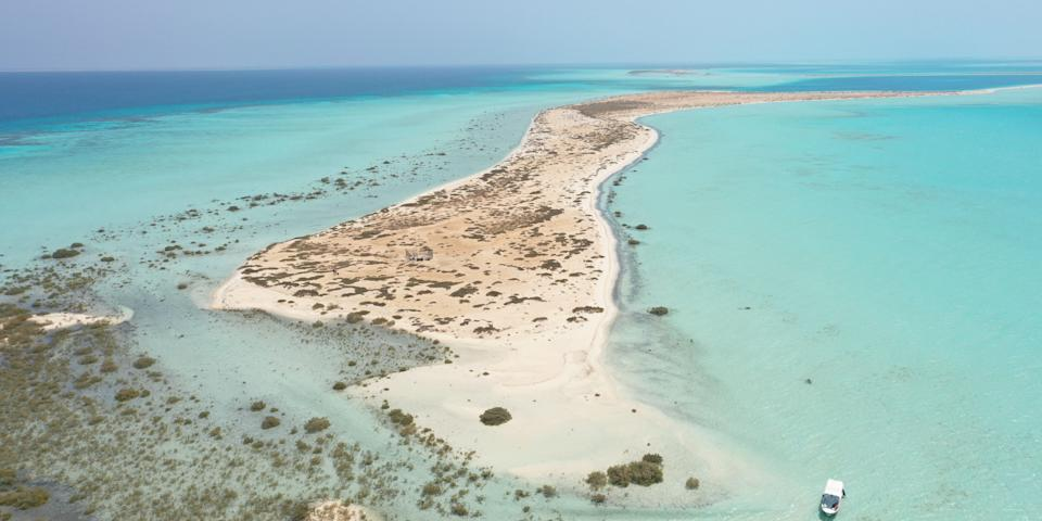 """An island that will be part of The Red Sea Project site on Saudi Arabia's Red Sea coast, as seen in March 2020. <p class=""""copyright"""">Xinhua via Getty Images</p>"""