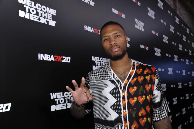 "<a class=""link rapid-noclick-resp"" href=""/nba/players/5012/"" data-ylk=""slk:Damian Lillard"">Damian Lillard</a> released a take-no-prisoners diss track about Shaq. (Photo by John Sciulli/Getty Images for NBA 2K20)"