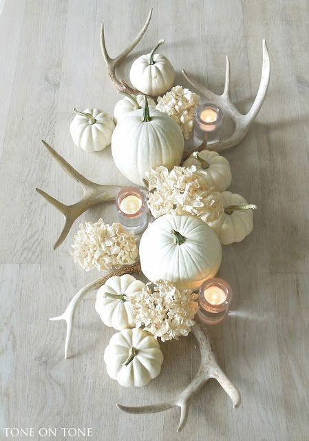 "<p>For a monochromatic display, pair white pumpkins with dried hydrangeas and faux antlers. </p><p><a class=""link rapid-noclick-resp"" href=""https://go.redirectingat.com?id=74968X1596630&url=https%3A%2F%2Fwww.etsy.com%2Flisting%2F190277725%2Ffaux-deer-antlers-faux-taxidermy-white&sref=https%3A%2F%2Fwww.goodhousekeeping.com%2Fholidays%2Fthanksgiving-ideas%2Fg1681%2Fthanksgiving-centerpieces-easy-elegant%2F"" rel=""nofollow noopener"" target=""_blank"" data-ylk=""slk:SHOP FAUX ANTLERS"">SHOP FAUX ANTLERS</a><br></p><p><em><a href=""http://toneontoneantiques.blogspot.com/2015/09/fall-accents.html"" rel=""nofollow noopener"" target=""_blank"" data-ylk=""slk:See more at Tone on Tone »"" class=""link rapid-noclick-resp"">See more at Tone on Tone »</a></em></p>"