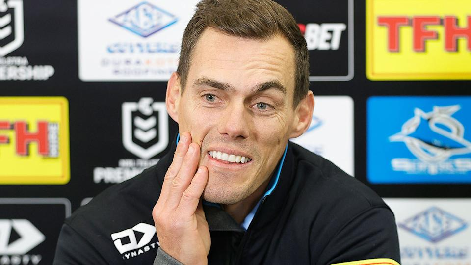 Pictured here, Cronulla coach John Morris at a press conference.