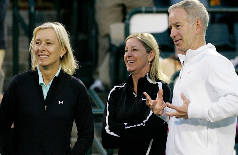 Martina Navratilova, pictured left with Chris Evert and John McEnroe in 2012, said she was told by the BBC that her pay was comparable to McEnroe's.  (Photo: Mary Chastain / Reuters)