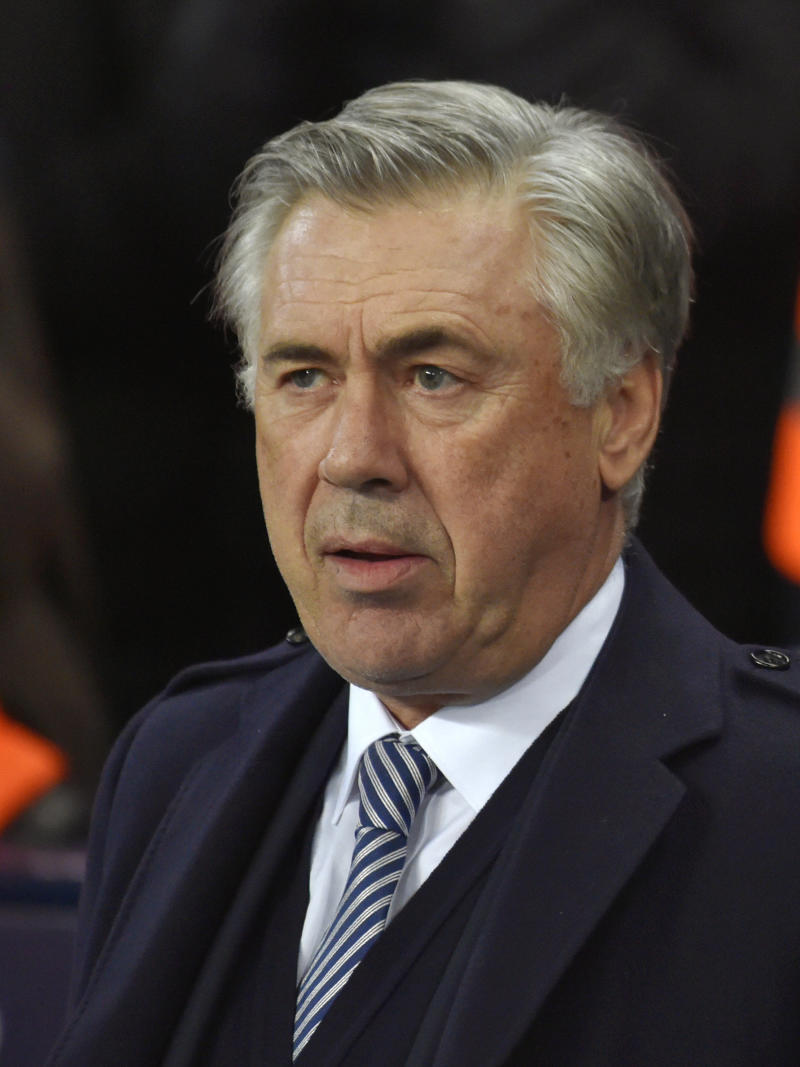 Everton's manager Carlo Ancelotti during the English Premier League soccer match between Manchester City and Everton at Etihad stadium in Manchester, England, Wednesday, Jan. 1, 2020. (AP Photo/Rui Vieira)