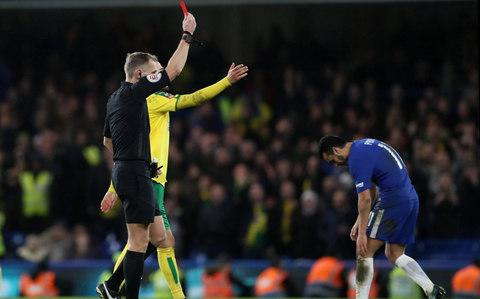 Chelsea's Pedro is shown a red card by referee Graham Scott - Credit: Action Images via Reuters