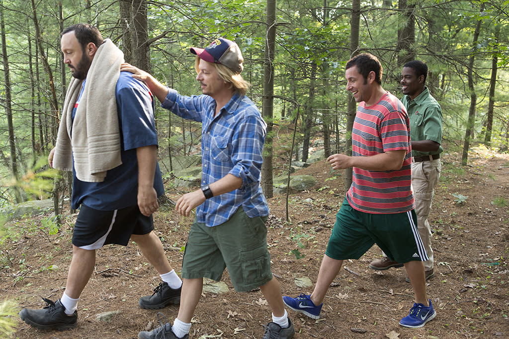 Eric Lamonsoff (Kevin James), Marcus Higgins (David Spade), Lenny Feder (Adam Sandler) and Kurt McKenzie (Chris Rock) going to the quarry in Columbia Pictures' GROWN UPS 2.