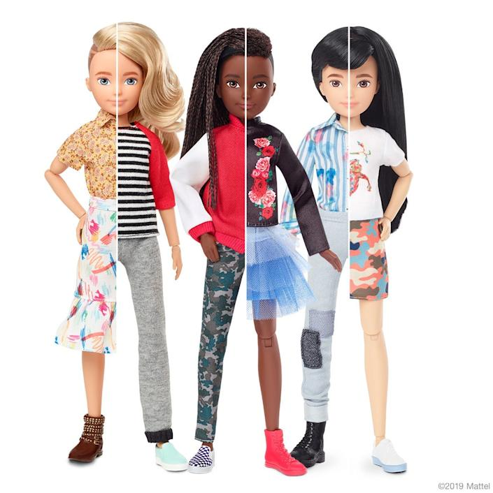 """Mattel, the maker of Barbie, introduced in September a line of gender-neutral dolls that it says """"keep labels out and invite everyone in."""