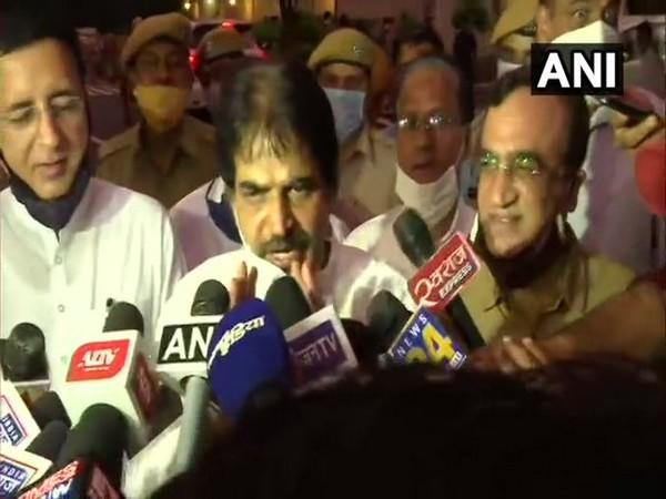 Congress leader KC Venugopal talking to reporters on Thursday. Photo/ANI
