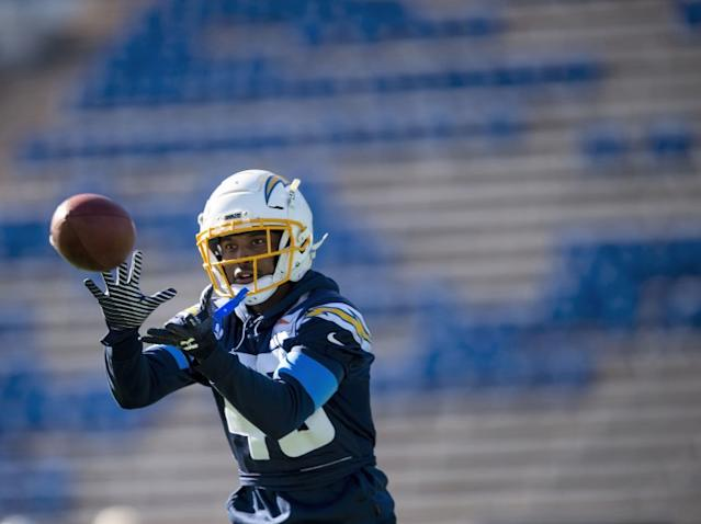 """Chargers cornerback Michael Davis catches a pass during a team practice session. <span class=""""copyright"""">(Chancey Bush / Associated Press)</span>"""