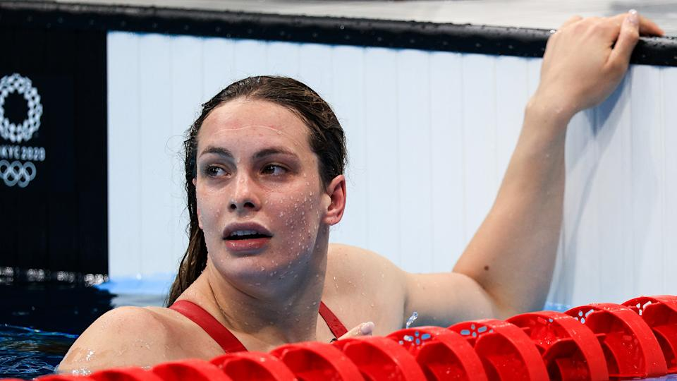 Canadian swimmer Penny Oleksiak is seen during the ladies' 200m freestyle final. (Photo by Sergei Bobylev\TASS via Getty Images)