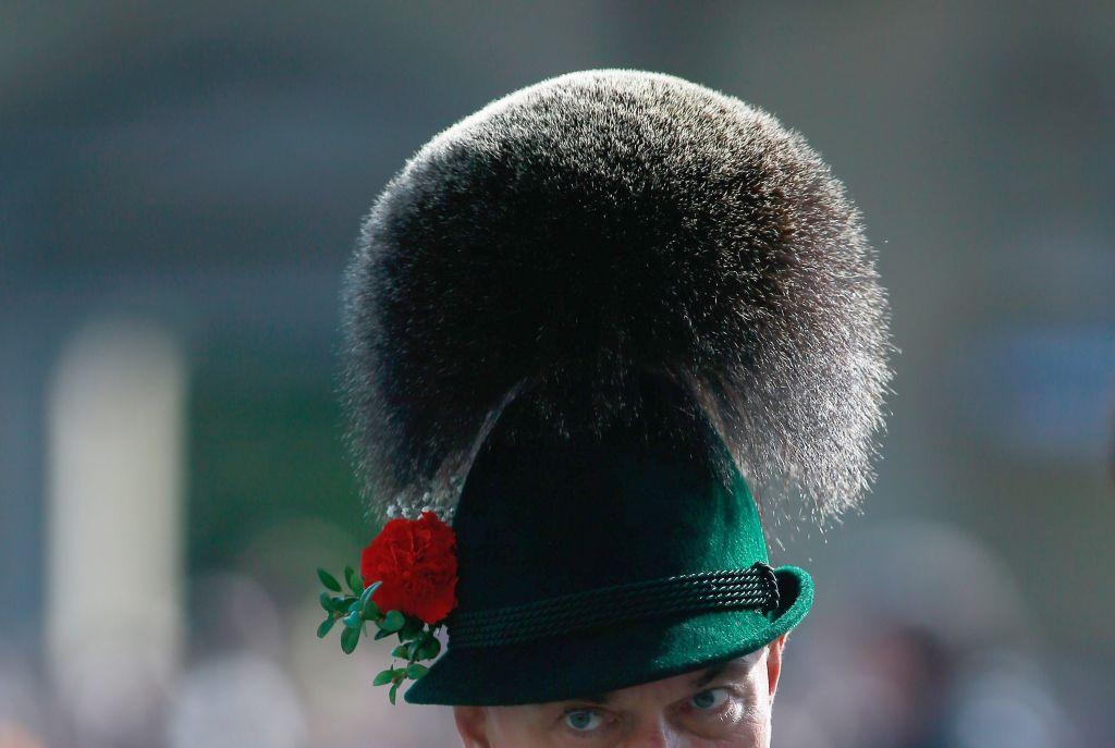 A member of a riflemen's association wears a traditional Bavarian Gamsbart hat during the riflemen's parade on the second day of the Oktoberfest.