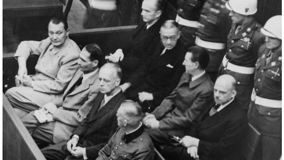 Nazis at the Nuremberg Trials: Goering, Hess, von Ribbentrop, and Keitel in front row