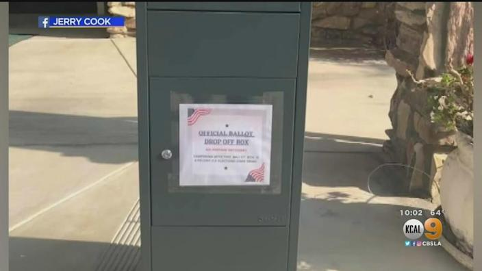Unofficial ballot drop box appeared in front of Baptist church in Castaic, California. It has been removed. / Credit: CBS KCAL Los Angeles