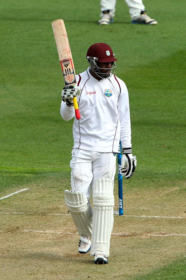 WELLINGTON, NEW ZEALAND - DECEMBER 12:  Kirk Edwards of the West Indies celebrates his half century during day two of the Second Test match between New Zealand and the West Indies at Basin Reserve on December 12, 2013 in Wellington, New Zealand.  (Photo by Hagen Hopkins/Getty Images)
