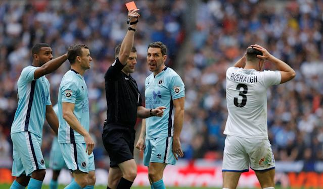 Soccer Football - National League Promotion Final - Tranmere Rovers v Boreham Wood - Wembley Stadium, London, Britain - May 12, 2018 Tranmere Rovers' Liam Ridehalgh is shown a red card Action Images/Andrew Couldridge