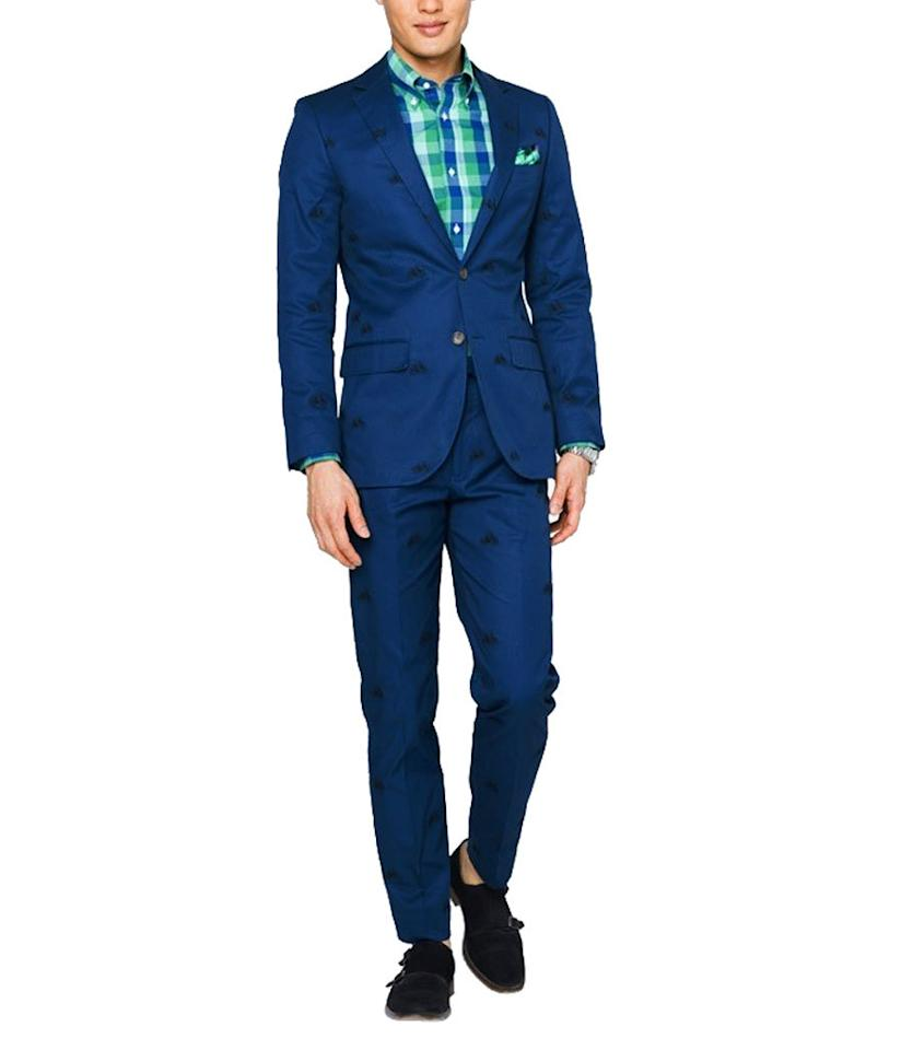 "<p>$419, <a href=""http://www.indochino.com/product/navy-bike-embroidered-stretch-cotton-suit"">indochino.com</a><br /><br /></p>"