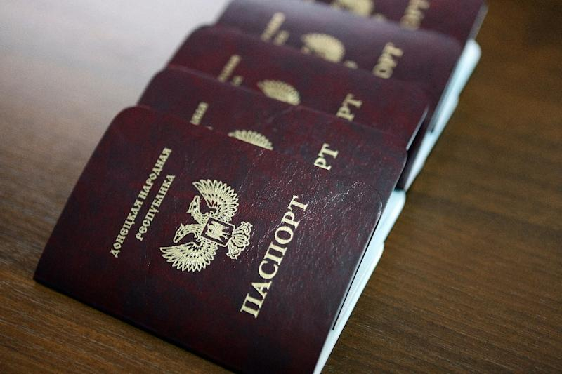 New passports of the self-proclaimed People's Republic of Donetsk (AFP Photo/ALEKSEY FILIPPOV)