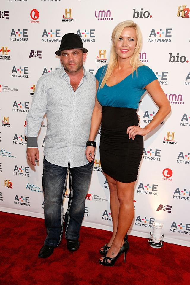 "Russell Hantz and Kristen Bredehoeft (A&E's ""Flipped Off"") attend the A&E Networks 2012 Upfront at Lincoln Center on May 9, 2012 in New York City."