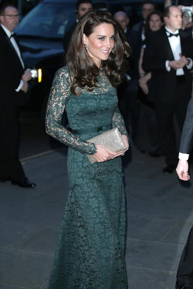 Kate Middleton Hits the Art Scene in Lacy Green Gown