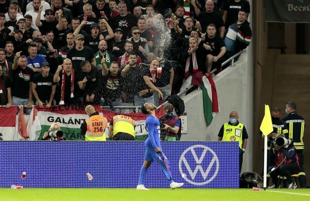 Raheem Sterling was among the England players targeted with monkey chants during the win in Hungary.