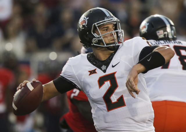 Mason Rudolph looks to throw against South Alabama during the first half of an NCAA college football game, Friday, Sept. 8, 2017, in Mobile, Ala. (AP Photo/Dan Anderson)