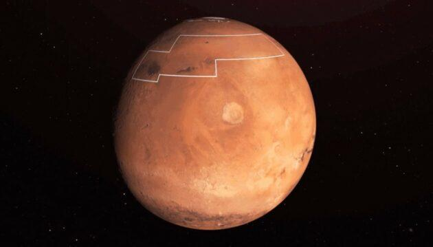 The area of Mars outlined by the white box, in Arcadia Planitia, is considered a tempting target for human settlement due to the availability of water ice. (NASA / JPL-Caltech Graphic)