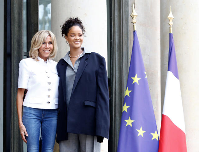 """<p>The """"Love on the Brain"""" singer met with First Lady of France Brigitte Macron, as well as President Emmanuel Macron, in Paris to <a href=""""https://www.yahoo.com/celebrity/rihanna-meets-french-president-macron-222700945.html"""" data-ylk=""""slk:advocate for education"""" class=""""link rapid-noclick-resp"""">advocate for education</a> in developing countries. RiRi is very familiar with the issue, since she works with the Global Partnership for Education and founded her own nonprofit, the Clara Lionel Foundation, to financially support education programs for impoverished communities around the world. (Photo: Mehdi Taamallah/NurPhoto via Getty Images) </p>"""