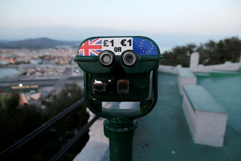 Tourist binoculars offer users the chance to pay in Pounds or Euros, on top of the Rock in the British overseas territory of Gibraltar