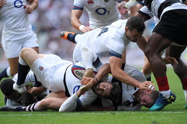 Rugby Union - England v Barbarians, Twickenham Stadium, London, Britain - May 27, 2018 England's Elliott Daly scores their first try Action Images via Reuters/Tony O'Brien