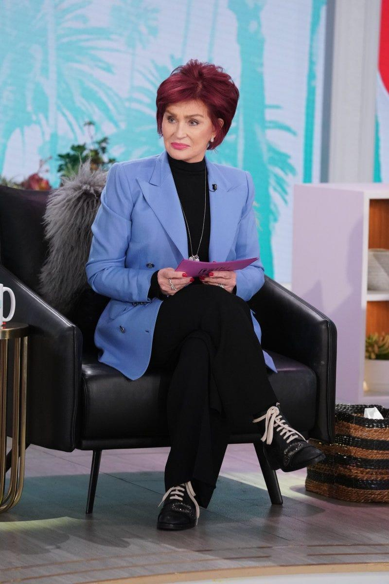 """Sharon Osbourne is pictured during a Feb. 19, 2021, episode of """"The Talk."""""""