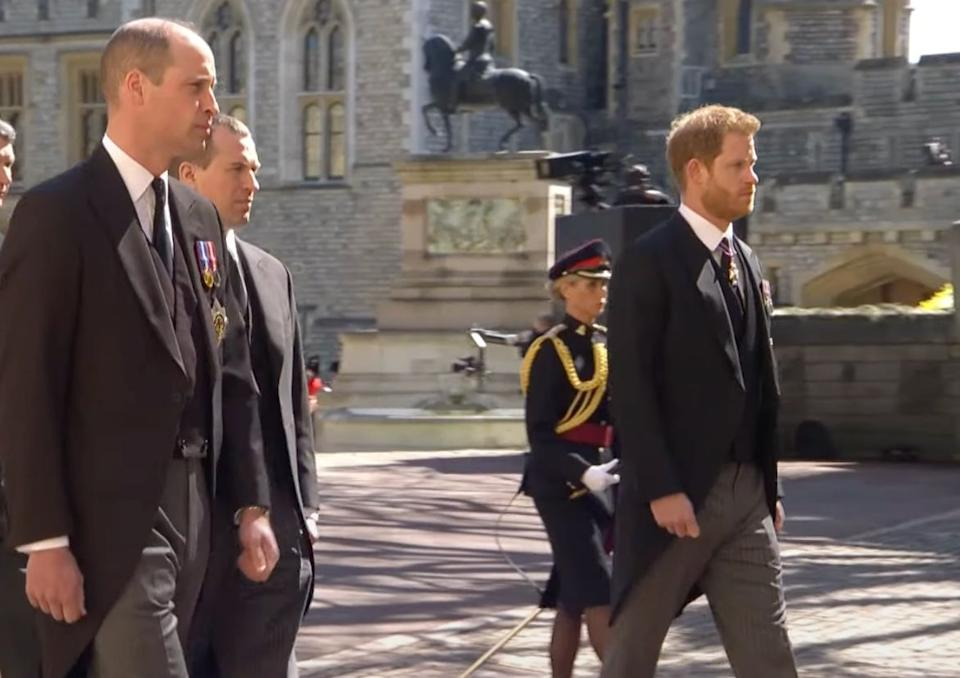 Prince William, left, walks in the funeral procession near Prince Harry, right. (Photo: Royal Family/YouTube)