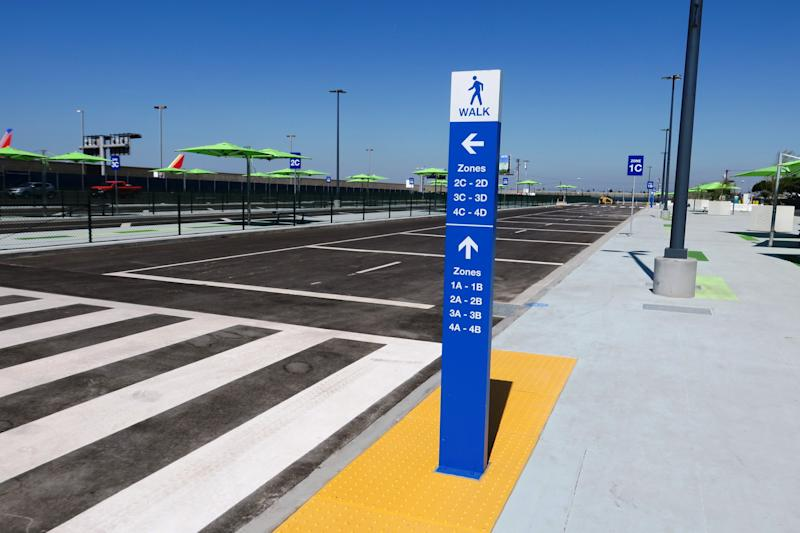 LAX officials say getting from the airport to the pickup lot should be no more than 15 minutes (from most terminals), and exiting the terminal should be faster because drivers no longer must battle backups in the Central Terminal Area.