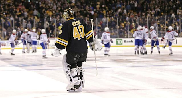Boston Bruins goalie Tuukka Rask (40) skates to the bench after giving up the game winning goal by Montreal Canadiens center Alex Galchenyuk in a shootout during an NHL hockey game, Monday, March 24, 2014, in Boston. The Canadiens defeated the Bruins 2-1. (AP Photo/Charles Krupa)