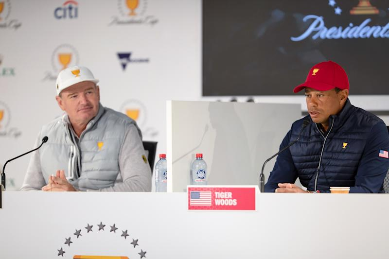 Captains Ernie Els and Tiger Woods prepare for the Presidents Cup. (Speed Media/Icon Sportswire via Getty Images)