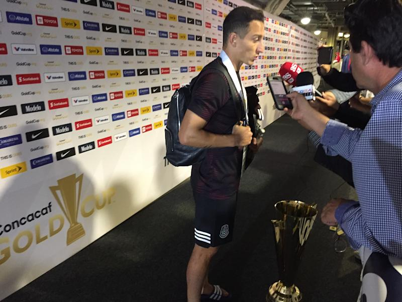 Andres Guardado in the postgame interview mixed zone. (Henry Bushnell/Yahoo Sports)