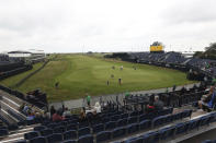 A general view of the 18th green and fairway at Royal St George's golf course Sandwich, England, where British Open Golf Championship, is taking place, Wednesday, July 14, 2021. The Open starts Thursday, July, 15. (AP Photo/Ian Walton)