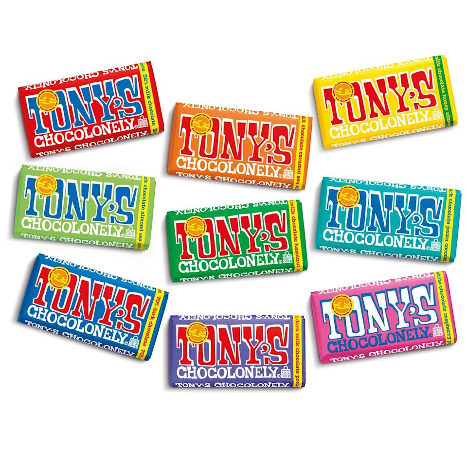 """<h2>Tony's Chocolonely Nine Bar Variety Pack</h2><br>Skip the Whitman's Sampler and opt for an eye-catching assortment of chocolate bars from this design-forwward sweets brand. Even better than the curb appeal of a Tony's treat is the company's <a href=""""https://tonyschocolonely.com/us/en/our-mission/our-timeline"""" rel=""""nofollow noopener"""" target=""""_blank"""" data-ylk=""""slk:commitment working with cacao farms that don't rely on slave labor"""" class=""""link rapid-noclick-resp"""">commitment working with cacao farms that don't rely on slave labor</a>.<br><br><em>Shop Tony's Chocolonely on <strong><a href=""""https://amzn.to/3uiZgsQ"""" rel=""""nofollow noopener"""" target=""""_blank"""" data-ylk=""""slk:Amazon"""" class=""""link rapid-noclick-resp"""">Amazon</a></strong></em><br><br><strong>Tony's Chocolonely</strong> Nine Bar Variety Pack, $, available at <a href=""""https://amzn.to/3b1iXh7"""" rel=""""nofollow noopener"""" target=""""_blank"""" data-ylk=""""slk:Amazon"""" class=""""link rapid-noclick-resp"""">Amazon</a>"""