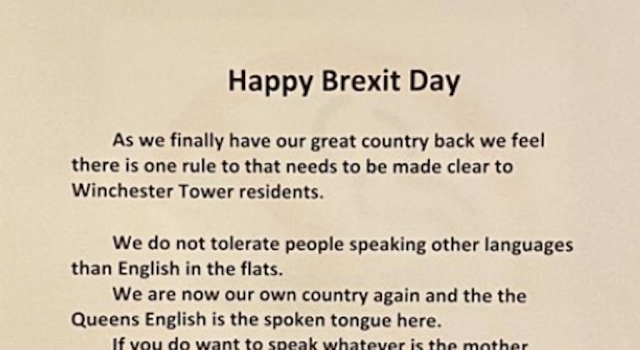 """A note pinned up on doors in a block of flats said residents would not """"tolerate people speaking other languages than English"""" (Picture: Twitter)"""