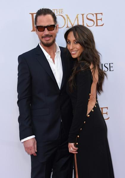 Chris Cornell and his wife Vicky Karayiannis, pictured in April 2017