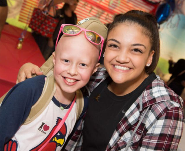 """<p>Patients and families at St. Jude Children's Research Hospital threw the Olympic gold medalist <a href=""""https://www.instagram.com/p/BVQclYkg-4A/?taken-by=lauriehernandez_&hl=en"""" rel=""""nofollow noopener"""" target=""""_blank"""" data-ylk=""""slk:a surprise birthday party"""" class=""""link rapid-noclick-resp"""">a surprise birthday party</a>, a few days after she turned 17 on June 9. (Photo: St. Jude's Hospital) </p>"""