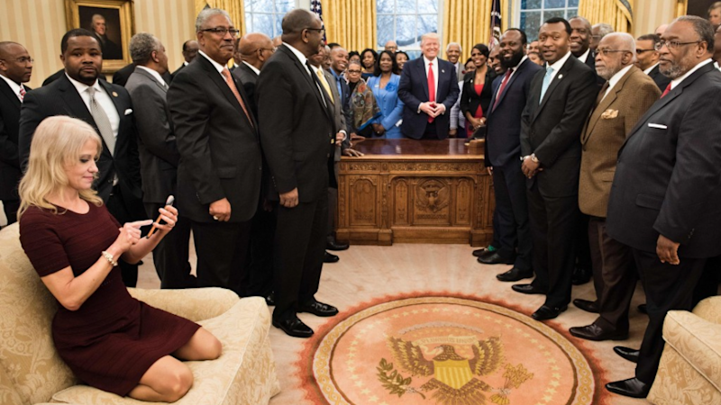 Photo of Kellyanne Conway on Oval Office Couch Sparks Meme Frenzy
