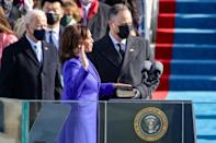 "<p>Harris made history when she <a href=""https://people.com/politics/vice-president-kamala-harris-inauguration-speech-2021/"" rel=""nofollow noopener"" target=""_blank"" data-ylk=""slk:became the first woman vice president"" class=""link rapid-noclick-resp"">became the first woman vice president</a> of the United States on Jan. 21, 2021. She is also the first Black person and South Asian person to hold the office. </p> <p>Emhoff was there to support his wife and hold the bible as she was sworn in. </p>"