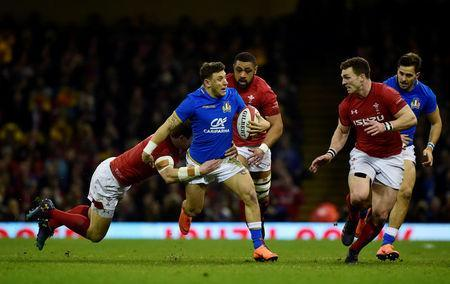FILE PHOTO: Rugby Union - Six Nations Championship - Wales vs Italy - Principality Stadium, Cardiff, Britain - March 11, 2018 Italy's Matteo Minozzi in action REUTERS/Rebecca Naden/File Photo