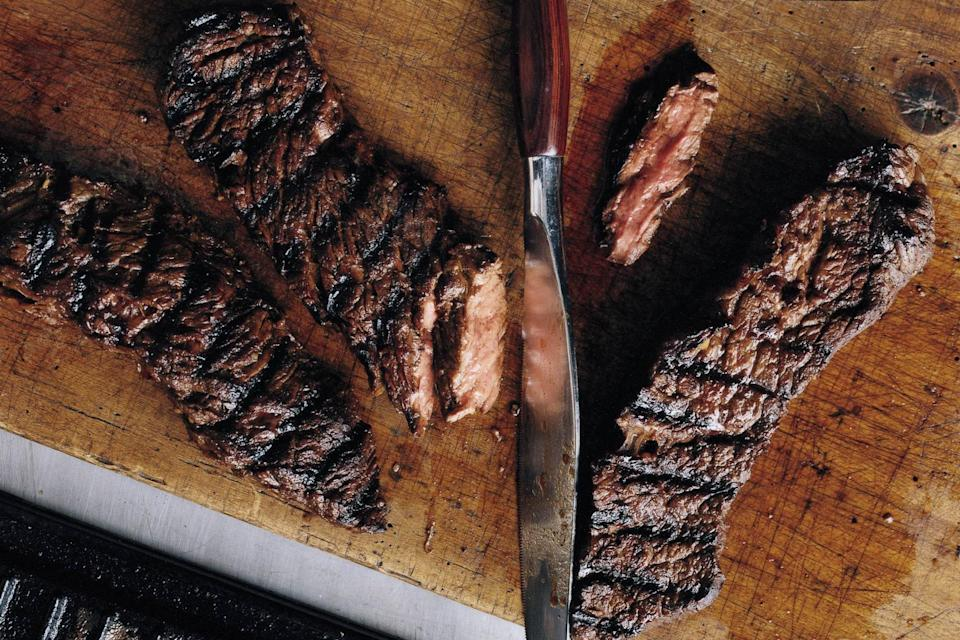 """This simple marinade—a combination of soy sauce, balsamic vinegar, and maple syrup—is one you'll turn to over and over again. <a href=""""https://www.epicurious.com/recipes/food/views/grilled-marinated-sirloin-flap-steaks-350252?mbid=synd_yahoo_rss"""" rel=""""nofollow noopener"""" target=""""_blank"""" data-ylk=""""slk:See recipe."""" class=""""link rapid-noclick-resp"""">See recipe.</a>"""