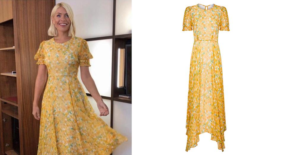 Holly Willoughby celebrate a decade on This Morning wearing a Ghost dress [Photo: @hollywilloughby/ John Lewis]