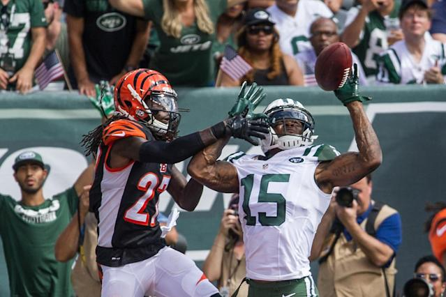 <p>Sep 11, 2016; East Rutherford, NJ, USA; Cincinnati Bengals cornerback Dre Kirkpatrick (27) breaks up a pass to New York Jets wide receiver Brandon Marshall (15) in the first half at MetLife Stadium. Mandatory Credit: William Hauser-USA TODAY Sports </p>