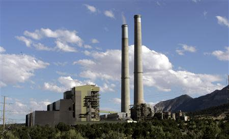 Smoke stacks are seen at Pacificorp's Huntington Power Plant in Huntington