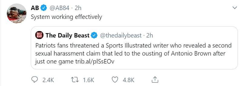 In a since-deleted tweet, Brown appeared to support threats reportedly being made against a Sports Illustrated reporter. (Photo: Twitter)