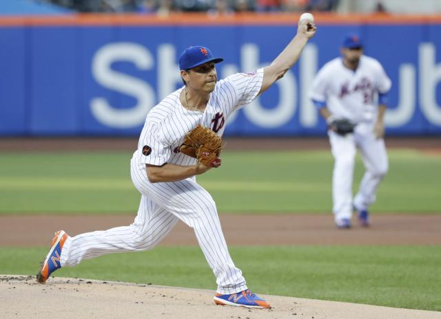 New York Mets' Jason Vargas delivers a pitch during the first inning of a baseball game against the Miami Marlins Monday, May 21, 2018, in New York. (AP Photo/Frank Franklin II)