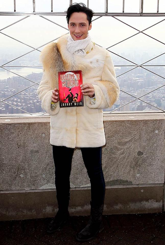 "Earlier that same day, Johnny -- who recently appeared as a judge on ABC's abysmal ""Skating With the Stars"" -- attempted to promote his new tome, <i>Welcome to My World</i>, at the Empire State Building while bundled up in a cream-colored, real fur coat. Jeffrey Ufberg/<a href=""http://www.wireimage.com"" target=""new"">WireImage.com</a> - January 11, 2011"